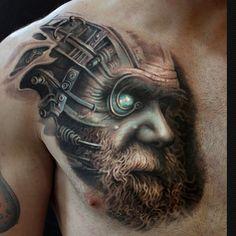2 colors biomechanical tattoo style of Human Evolution motive done by artist Arlo DiCristina Cyborg Tattoo, Robot Tattoo, Tatoo 3d, Tattoo Off, Tattoo Expo, Sick Tattoo, Tattoo Guys, Arlo Tattoo, Body Art Tattoos