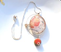 """Big oval necklaceantique pink and goldglass and by LaTerraCanta STILL A FEW HOURS TO USE THE DISCOUNT CODE """"TWOWEEKENDS"""" -15% NO MINIMUM UNTIL 30 AUGUST"""