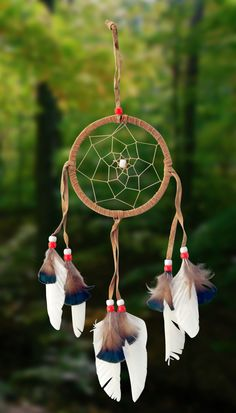 "Item owg003 – 4-1/2"" White Feather, Leather & Bead Dreamcatcher – Just Dreamcatchers"