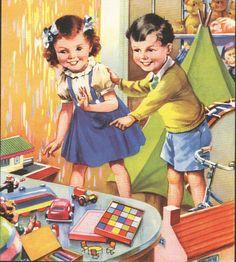 vintage book illustration, 1940s
