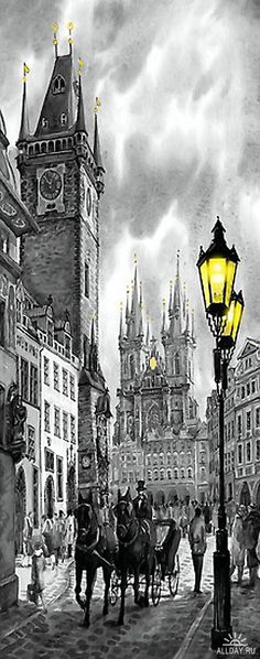 Bw Prague Old Town Squere by Yuriy Shevchuk BW Prague Old Town Square by Yuriy Shevchuk ~ giclee on watercolor paper Watercolor Walls, Watercolor Paintings, Watercolor Paper, Prague Old Town, City Drawing, Old Town Square, City Streets, Beautiful Paintings, Landscape Paintings