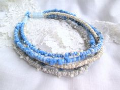Blue Multi strand Necklace. Natural Pearls Beads. от SvitLoShop