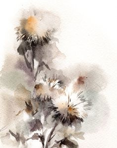 Watercolor Print of Abstract Florals, Watercolor Painting Art Print, Earth Colors Wall Art