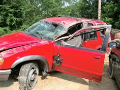 My grandson Kieran's car after accident 6-16-16 in Pinch, WV a couple of minutes from my house.