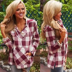 Women Fashion Loose Long Sleeve Plaid Blouse Shirt Cotton Lady With Hooded Tops Hoodie Sweatshirts, Hoodies, Plaid Hoodie, Plaid Shirts, Plaid Fashion, Bd Fashion, Fashion Women, Fashion Coat, Winter Fashion