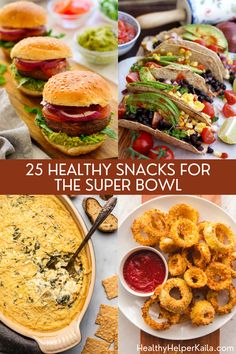 25 Healthy Snacks for the Super Bowl   A roundup of healthy yet delicious appetizers and snacks to serve your friends on family on GAME DAY! All the flavor of your favorites, but with real food, clean eating ingredients. #superbowl #healthysnacks #cleaneating #healthysnackrecipes #vegansnacks #gamedaysnacks #gamedayrecipes #footballfood #footballsnacks Vegan Spinach Dip, Baked Cauliflower Wings, Quinoa Bites, Healthy Snacks, Healthy Recipes, Homemade Guacamole, Game Day Snacks, Hidden Veggies, Happy Kitchen
