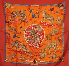 MY HERMÈS Scarf silk twill 90x90cm Tendresse Feline (brique/orange/bleu).  Recently received it as a birthday present and has changed my thoughts entirely on animal print in fashion.