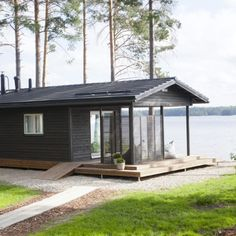 Sauna by the lake, Finland Minimalist House Design, Small House Design, Cabin Homes, Log Homes, Prefab Cottages, Tyni House, Caravan Home, Building A Cabin, Summer Cabins