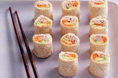 kid friendly avocado & tuna sushi sandwich. bread, cream cheese, tunafish, avaocado & carrot