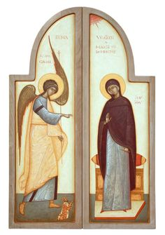 Artist: Gabriel Toma Chituc The Annunciation Orthodox Christianity, Virgin Mary, Orthodox Icons, Blessed Mother, Sacred Art, Christian Art, Byzantine, Catholic, Saints