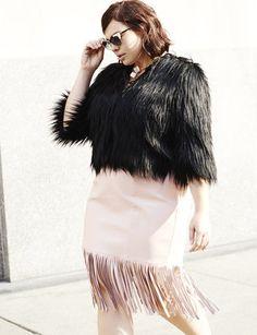 Plus Size Faux Leather Fringe Pencil Skirt
