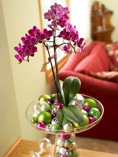 Moth Orchid  Who doesn't love orchids? The wide range of colors and varieties makes them perfect for any holiday flower arrangement. Moth orchids are easy to care for and can bloom for as long as four months. Fill an oversize vase with your favorite color of orchid and a variety of small, shimmery ornaments.