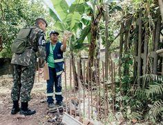 Depois de ser recebida por três vira-latas Angelita procura larvas num terreno com a ajuda do soldado Filipe Alves (Foto: Filipe Redondo/ÉPOCA)