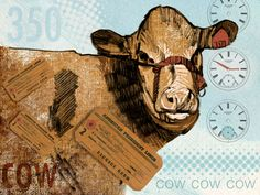 Cow 350 by Susan Murtaugh - Marker drawing from the 1980's scanned in & rebooted in #SketchBookPro #iPadArt