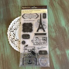 Paris Stamp Set Clear / 13 Paris France Cling Stamps for Tags, Bags, Cards, Etc.