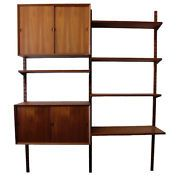 CADO WALL UNIT: Teak Two-Bay Storage with Shelves, Cabinets, by Poul Cadovius