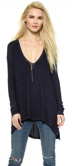 Free People Drippy Thermal Sunset Park Top - women's fashion (midnight draped silhouette, dark clothing apparel)