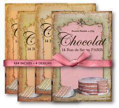 Vintage French Birthday Cake - Digital Collage Sheet Download