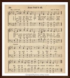 Music Words, Gospel Music, Free Printable Sheet Music, Song Lyrics And Chords, Jesus Paid It All, Church Songs, Praise Songs, Christian Songs, God Loves Me