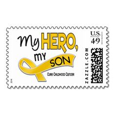 Childhood Cancer MY HERO MY SON 42 Postage Stamp. Wanna make each letter a special delivery? Try to customize this great stamp template and put a personal touch on the envelope. Just click the image to get started!