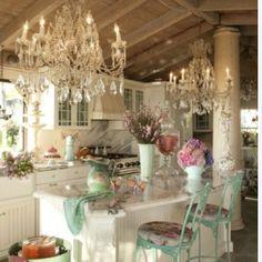 Farmhouse chic---lighting, chairs