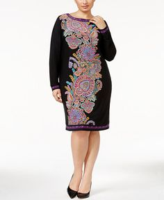 INC International Concepts Plus Size Paisley-Print Sheath Dress, Only at Macy's