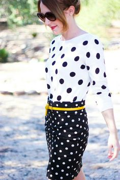 white and black polka dot top and black & white pencil skirt styled with a yellow belt