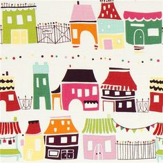 white fabric with houses market stalls by Alexander Henry