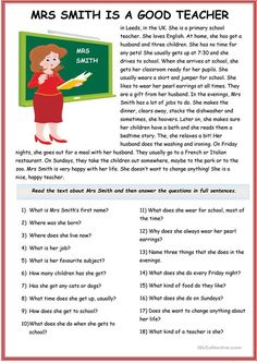 The present simple tense with Mr Cooper and Mrs Smith - English ESL Worksheets for distance learning and physical classrooms 2nd Grade Reading Worksheets, English Worksheets For Kids, English Lessons For Kids, Learn English Words, Reading Comprehension For Kids, Phonics Reading, Reading Passages, Reading Skills, Teaching English Grammar