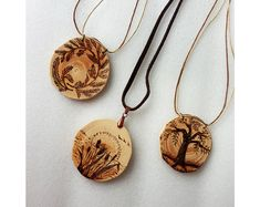 Long wood burned pine branch pendant handmade by SorrisoDesign #pyrography #uniquegifts