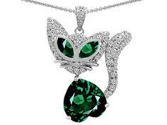 Star K Heart Shape Simulated Emerald Cat Pendant Necklace