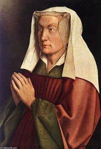 Le Retable de Gand: Femme (le détail) du donneur - (Jan Van Eyck)