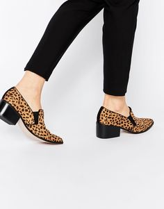ASOS leopard print low-heeled loafers