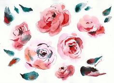 Original Watercolor painting of pink peonies. Unique gift for her. Contemporary floral water color art for living room. Watercolour picture. Unusual present.  It was painted by Alisa Adamsone on 300 g/m2 watercolor paper as a design for Owa Fashion clothing brand.  Dated and signed, without frame. Painting would be shipped between two pieces of cardboard in a bubbled envelope for safe delivery.  Please note that the color may very a little from what you see on the monitor.  Paper size: 3...
