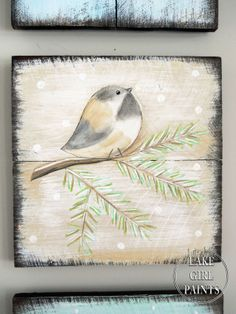 Rustic Winter Art Group- Love these! She uses fence boards and paint (stencil on the image). So cute.