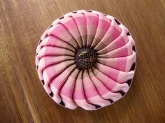 Pink Stripe Ribbon Brooch by Cocarde on Etsy