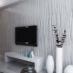 Spread The Wallpaper, Inspecting The Stitching Of Wallpaper And Colors, To Ensure That No Obvious Defects. 3D Modern Minimalist Backdrop Nonwoven Stripe Wallpaper Grey Silver Luxury. Put Wallpaper On The Wall, Use The Tool Fat Wallpaper, Squeezing Out Air Bubbles. | eBay!