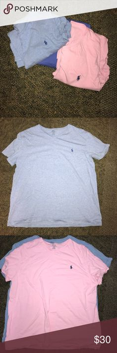 Polo V necks Never worn Baby Blue, Navy, Light Pink Polo V tees. In very good condition, just looked wrinkled. I have never worn the blue ones just the Pink one. I got as a present. In very good condition 30 for all three Polo by Ralph Lauren Shirts Tees - Short Sleeve