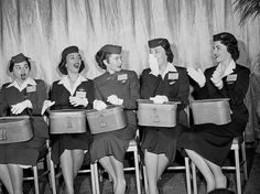 In the '50s, flight attendants donned crisp collars and white gloves, with perfect coifs under their caps.