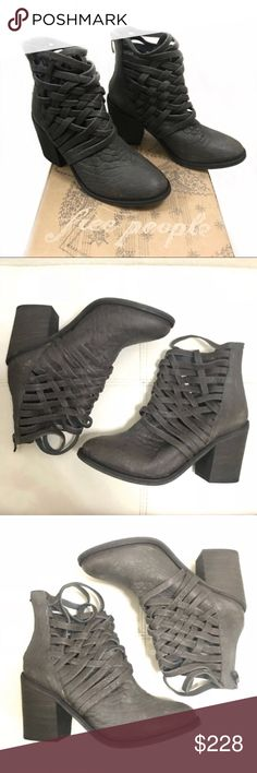 "Free People slate gray Carrera ankle boots size 8 Free People Carrera gray ankle boots size 8  Crisscrossed straps heighten the vintage aesthetic of a caged bootie crafted from weathered leather and lifted by a chunky stacked heel. 3 1/2"" heel (size 39) 4 1/2"" bootie shaft Back zip closure Leather upper and lining/synthetic sole Imported from Portugal Comes w/ box $228  Free People booties Free People western boots Free People shoes Free People ankle boots & booties Free People shoes size 8…"