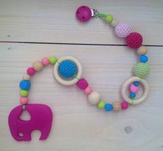 Speelketting met fuchsia olifant