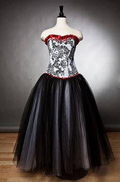 Custom size damask red and black tulle burlesque prom gown. $325.00, via Etsy.