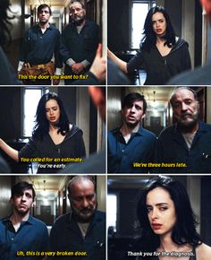 """This the door you want to fix?"" - #JessicaJones                                                                                                                                                      More"