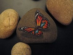 painted butterfly on rock