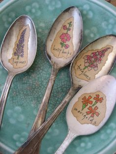 Everlasting Bouquet Vintage Silverware Spoon Illustrated Garden and Plant Markers - daisychestnut - etsy