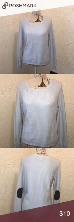 💋🌹J. Crew Wool Blend Sweater J. Crew Wool Blend Powder Blue Sweater Great Condition with black elbow patches J. Crew Sweaters Cowl & Turtlenecks