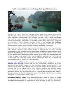 #VietnamTourPackages explore Vietnam which is one of most amazing natural wonders and one of Vietnam's most prized treasures.