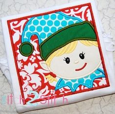Elf Box Girl Applique - 4 Sizes!   Christmas   Machine Embroidery Designs   SWAKembroidery.com The Itch 2 Stitch