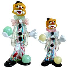 Vintage Murano Juggling Clowns Father Son Italian Art Glass Figurines | From a unique collection of antique and modern figurines at https://www.1stdibs.com/furniture/dining-entertaining/figurines/