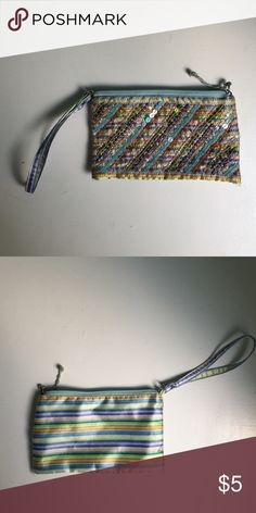 Old Nacy multicolored wristlet Lots of use but still in great condition! Old Navy Bags Clutches & Wristlets